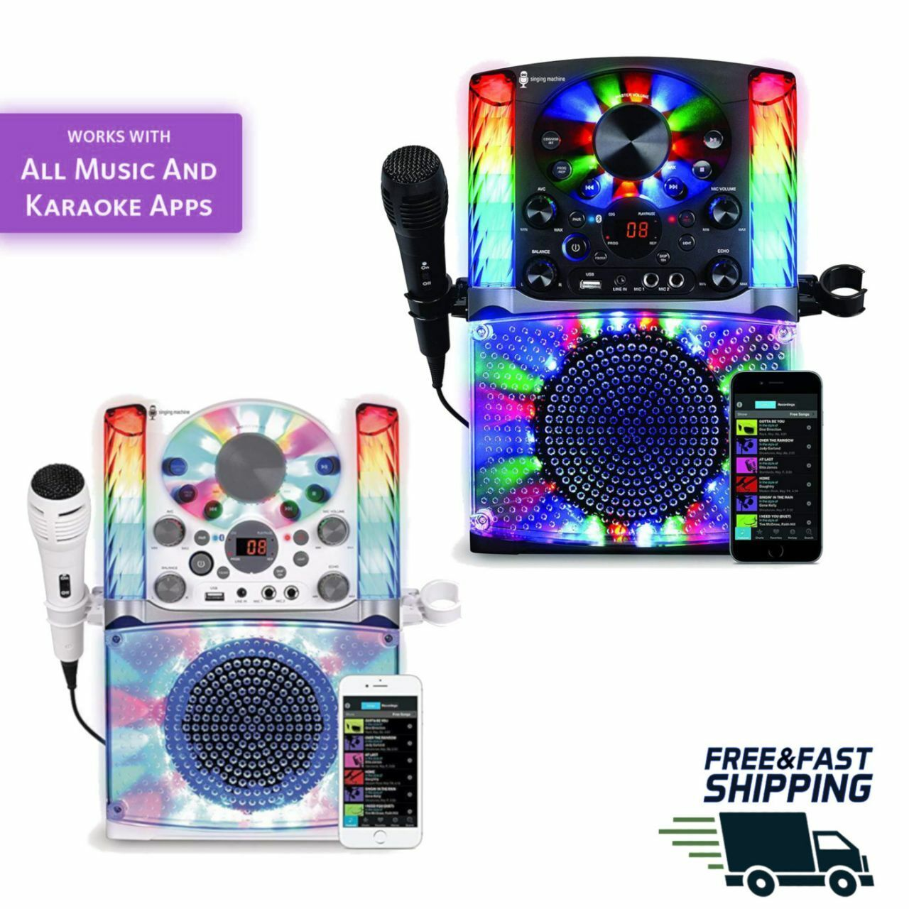 KARAOKE MACHINE SYSTEM Microphone Bluetooth CDG Audio Singing LED Display