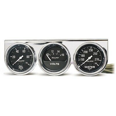 Auto Meter 2399 Gauge Console 2 5/8 Water Temp Oil Pressure Voltage Black Chrome