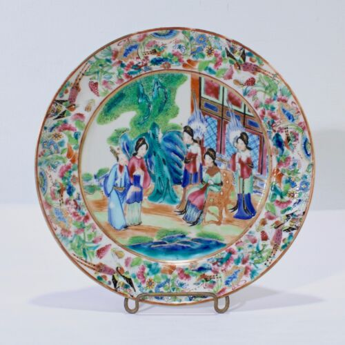 Exceptional Antique Rose Mandarin Chinese Porcelain Plate - Medallion #1 PC