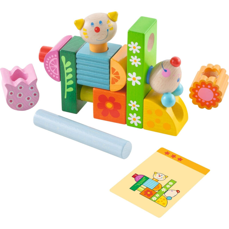 HABA Cat and Mouse Brain Builder Peg Set - 14 Wooden Pieces & 20 Pattern Cards