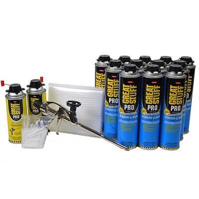 Great Stuff Pro Window Door 12 - 20oz Cans Pro Foam Gun 2 Cleaner