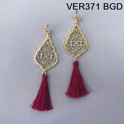 Gold Finish Teardrop Clover Cut out Burgundy Color Thread Tassel Dangle Earrings