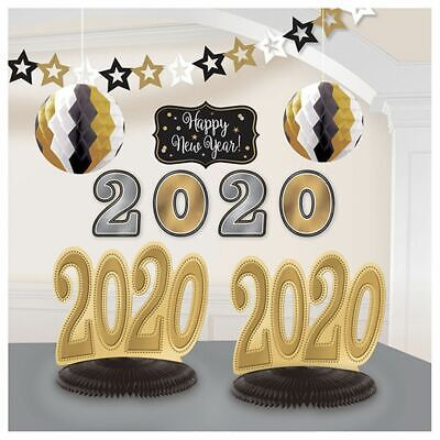 Black Gold Silver Party Decorations (2020 New Years Eve Graduation Room Decorating Kit 10 Pc Black Gold)