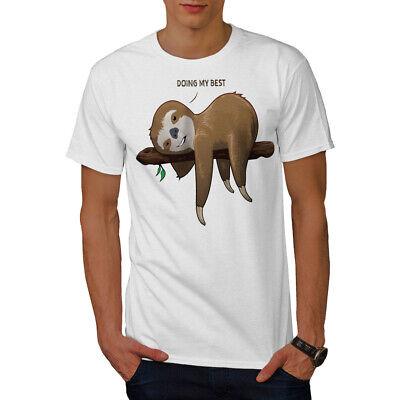 Wellcoda Sloth Lazy Mens T-shirt, Doing My Best Graphic Design Printed