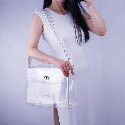 Clear Vinyl Plastic Bag Tote Crossbody Shopper Stud Strap Portfolio Brief Case (Vinyl Tote Bags)