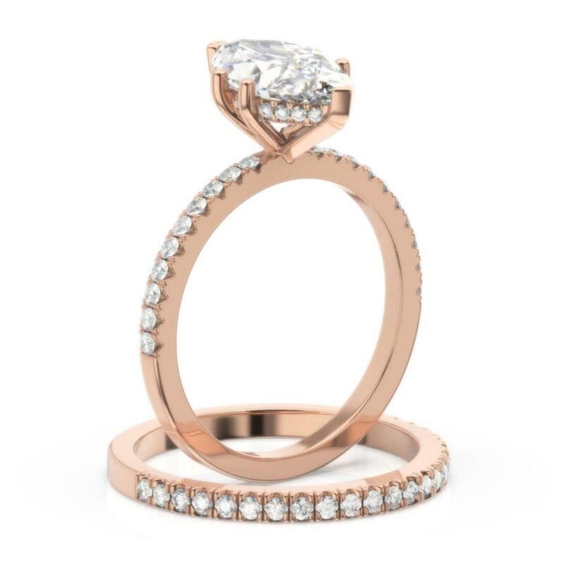 2.25 Ct Diamond Engagement Ring And Matching Band Marquise Cut E Vs2 14k Rose