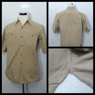 1940s Men's Shirts, Sweaters, Vests 1940's Chore Shirt Men's Large Khaki Button Up w/Rust Stains & Gussets Inv#Z2092 $29.99 AT vintagedancer.com