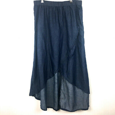 Be-Girl Basic Skirt High Low Chambray Crossover Sz XL Pull On Elastic Waist