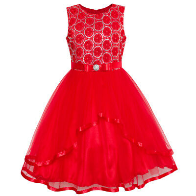 US STOCK! Flower Girl Dress Red Sequin Mesh Red Holiday Dress Size 4-12 Pageant - Red Flower Girls Dresses