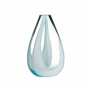 White & Turquoise Glass Flower Vase with Wave Design for Home Decoration - NEW