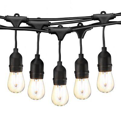 Cymas 49Ft LED Outdoor String Lights, Industrial Globe Strin