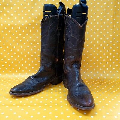 Vintage Justin boots genuine brown leather cowboy Ranch Western boots UK 8.5