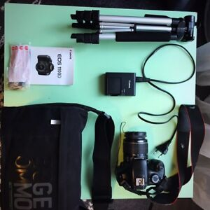 Canon EOS 1100D with accessories