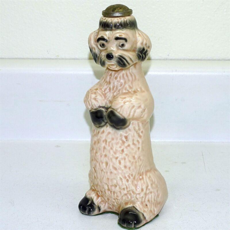 Vintage Ceramic Pink & Black Poodle Laundry Clothes Sprinkler, Figural, Ironing