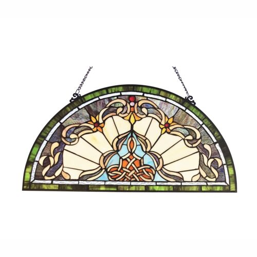 """Tiffany Style Victorian Stained Glass Window Panel 24"""" Half Moon Handcrafted"""