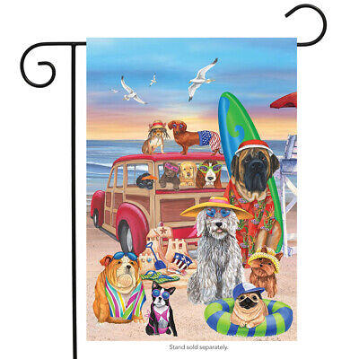 Dog Days of Summer Garden Flag Humor Nautical Beach Surfboar