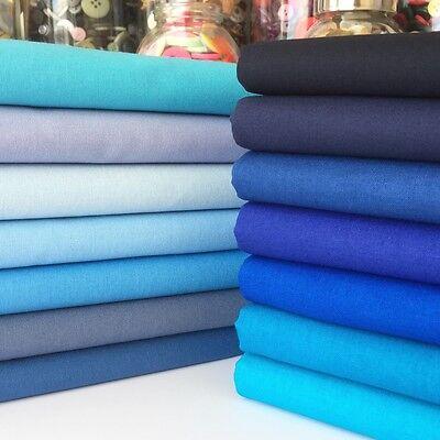 Rainbow Craft 100% cotton fabric blenders per 1/2 metre or 14 piece bundle blues
