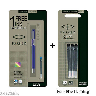 Parker Vector Standard CT Fountain Pen Blue Body - Free 1 Blue & 3 Black Ink