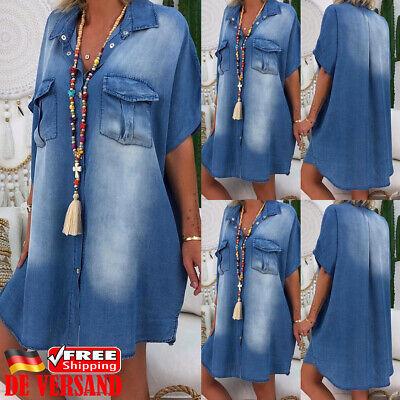 Sommer Kleid Jeans (Damen Minikleid Tunika Kleider Jeanskleid Denim Sommerkleid Locker Freizeitkleid)