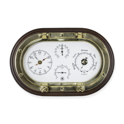 Bey-Berk Brass Porthole Clock, Barometer