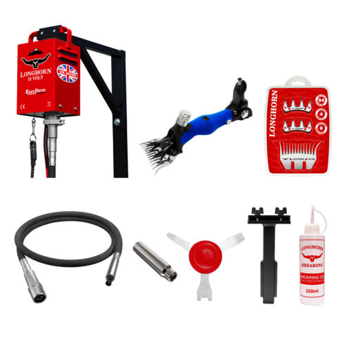 Longhorn 12V Sheep Shearing Plant With Flexible Dropper, Handpiece, Accessories