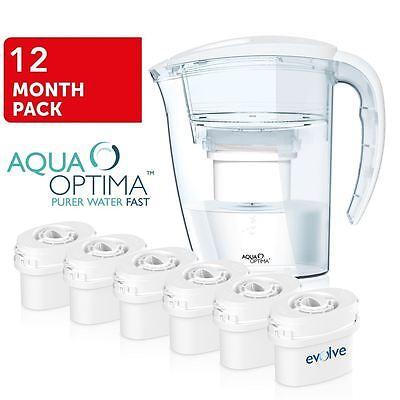 Aqua Optima White Fridge Water Filter Jug +6 Refill Cartridges fits BRITA MAXTRA