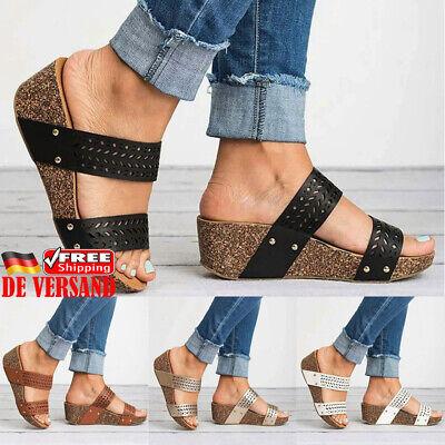 Pu High Heel Pumps (Damen Pumps PU Sandaletten High Heels Sandalen Keilabsatz Gestreift Halbschuhe)