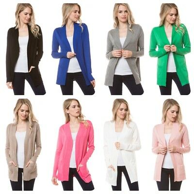 Women's  Long Sleeve Solid Open Front Cardigan Sweater (S-3X) (USA SELLER)