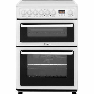 Hotpoint HAE60P HAE60PS 60cm Double Oven Electric Cooker, White
