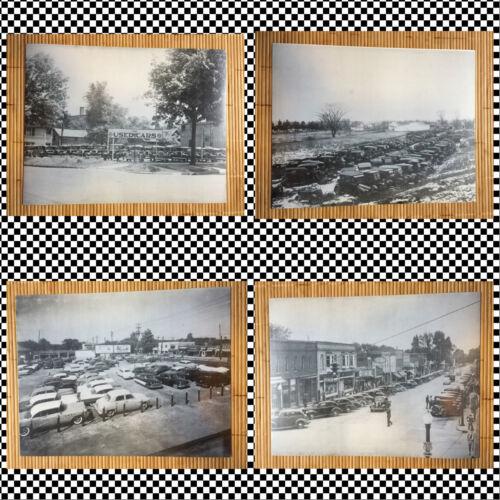 4 Vintage auto photos black and white junk yard 1950