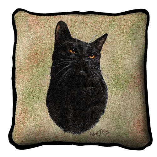 "Black Cat Pillow Pure Country Weavers 17""x17"" Cotton Kitten"