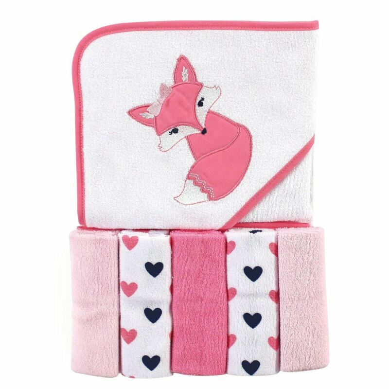 Luvable Friends Hooded Towel and 5 Washcloths, Foxy, One Size