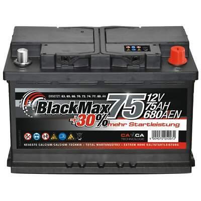 Autobatterie 12V 75Ah 680A/EN BlackMax Starterbatterie statt 70Ah 72Ah 74Ah 80Ah