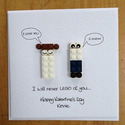 Personalised LEGO ® Valentine's card Han Leia Star Wars I Love You I Know