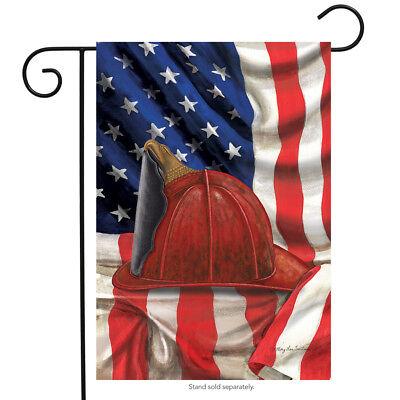 Fireman Helmet Garden Flag Emergency Services Firemen Patriotic 12.5