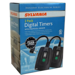 2 Pack Sylvania Digital Timer~Photocell Sensor~Dusk to Dawn~Dual Outlet~Outdoor