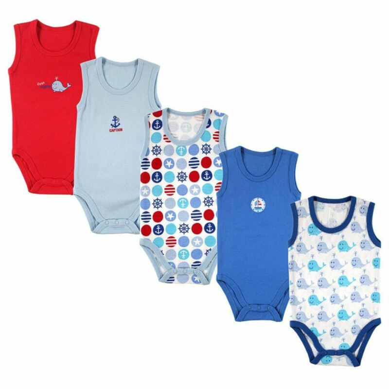 Luvable Friends Boy Sleeveless Bodysuits, 5-Pack, Blue-Nautical