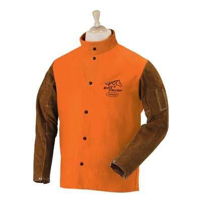 Black Stallion Fo9-30c Hybrid Fr Cotton Cowhide Welding Jacket Orange Medium