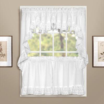 - Vienna Eyelet Kitchen Curtain Collection - White - NEW !
