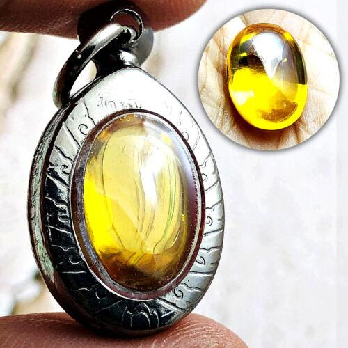 Naga Eye Healing Gem Stone Ellipse Thai Amulet Leklai Crystal Lucky Yellow 16513