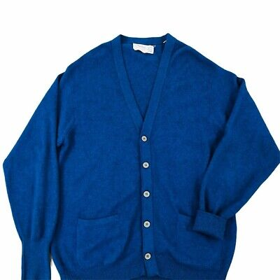Ballantyne Scotland Blue 100% Cashmere Cardigan Sweater Mens Sz 44 Vintage