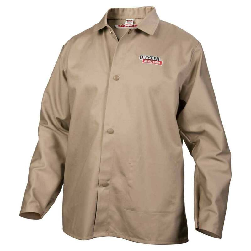 Lincoln Electric K3317 Traditional Khaki FR Cloth Welding Jacket Large