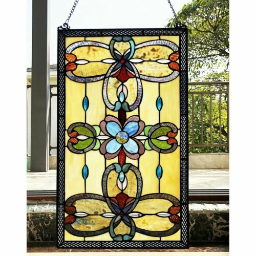 """26"""" H Victorian Stained Glass Enchanted Tiffany Style Window Panel"""
