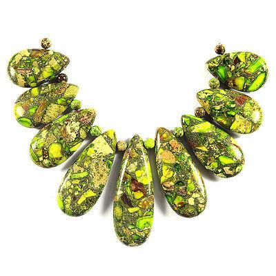 Lime Green Sea Sediment Jasper Necklace Pendant Bead Set Jewellery Making Supply