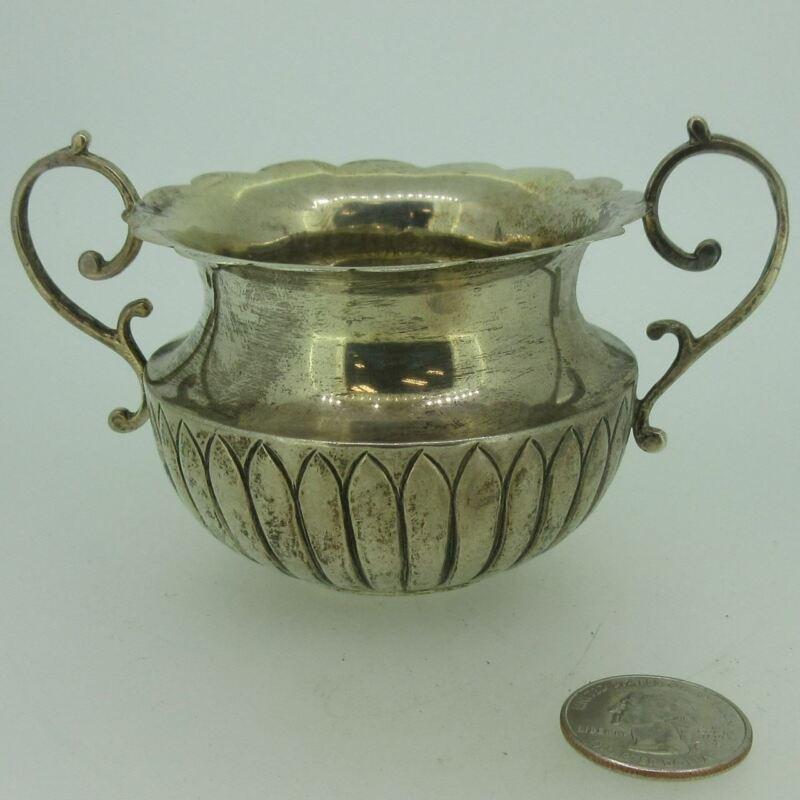 Antique A.C. English Birmingham Sterling Silver Sugar Bowl with Handles