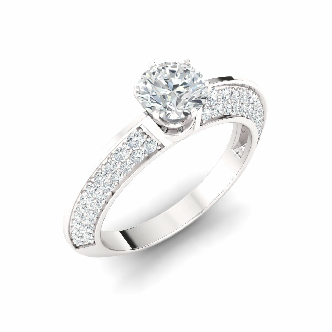 GIA Certified 1.04 Ct Round H/SI2 Diamond 14k White Gold Engagement Ring Size 7