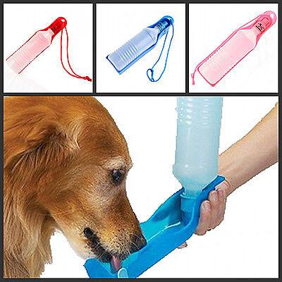 Pet Dog Foldable Water Feeders Bottle Bowl Dispenser Outdoor 250ml bottle BLUE