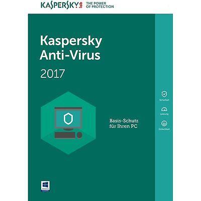 Kaspersky Antivirus 2017 1PC/Gerät 1Jahr Vollversion Lizenz Key ESD Download