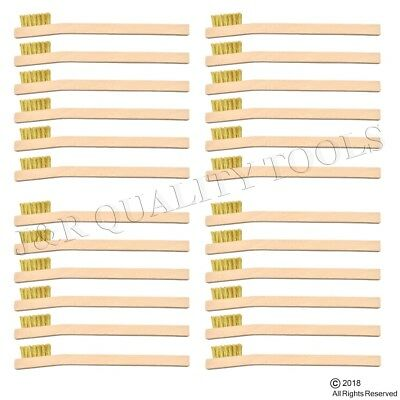 Brass Wire Handle (24 INDUSTRIAL BRASS WIRE BRUSH TOOTH BRUSHES WOOD)
