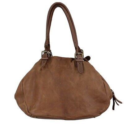 Costanza Rota Brown Soft Genuine Italian Leather Distressed Shoulder Bag NWT